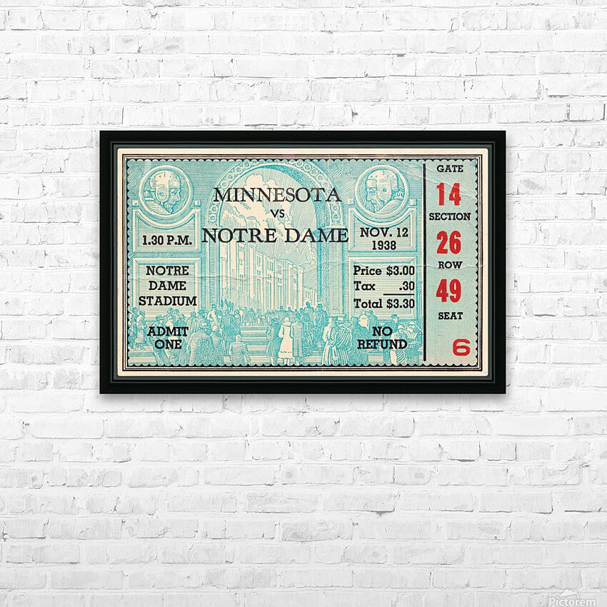1938 Minnesota vs. Notre Dame Football Ticket Canvas HD Sublimation Metal print with Decorating Float Frame (BOX)