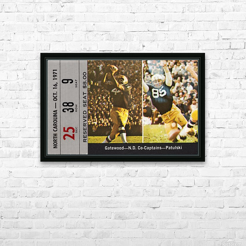 1971 Notre Dame vs. North Carolina Football Ticket Canvas HD Sublimation Metal print with Decorating Float Frame (BOX)