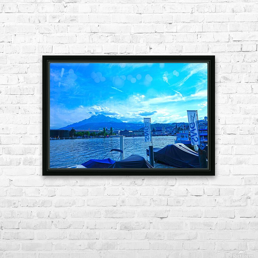 Blue Day Mount Pilatus on the Shores of Lake Lucerne   Central Swiss Alps HD Sublimation Metal print with Decorating Float Frame (BOX)