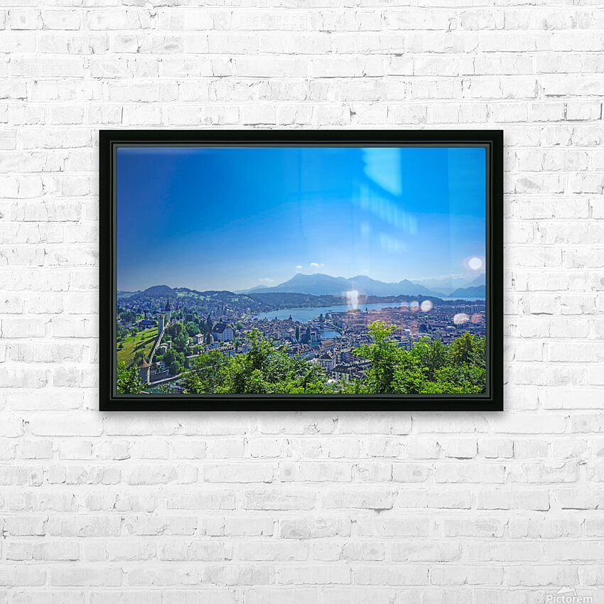 Stunning View Musegg Wall to Chapel Bridge to Lucerne and the Alps   Lucerne Switzerland HD Sublimation Metal print with Decorating Float Frame (BOX)