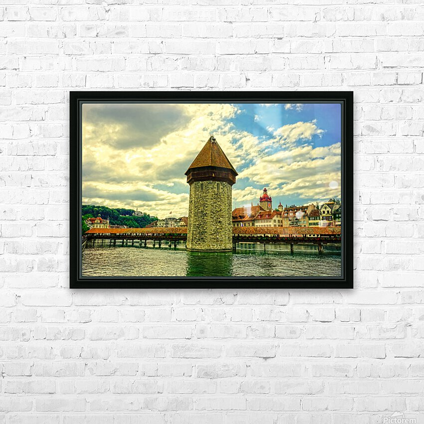 Spectacular Sunset Skies over Chapel Bridge Lucerne Switzerland HD Sublimation Metal print with Decorating Float Frame (BOX)