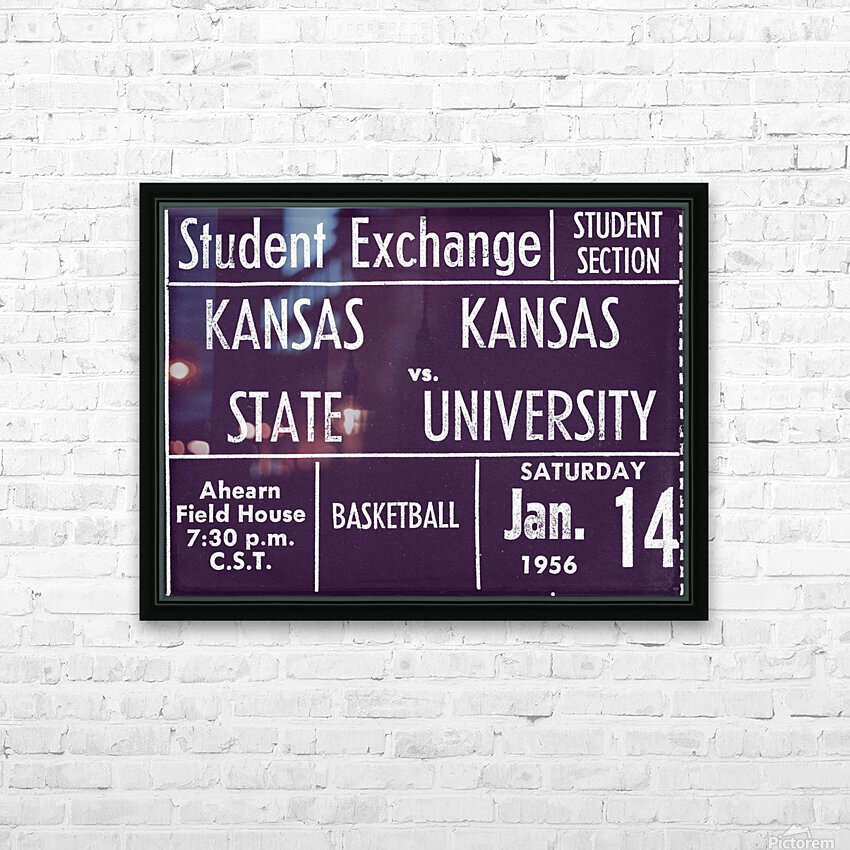 1956 Kansas State vs. Kansas Basketball Ticket Remix Art HD Sublimation Metal print with Decorating Float Frame (BOX)