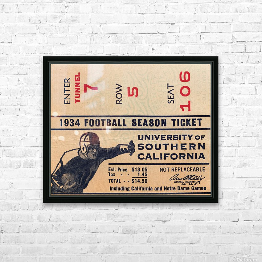 1934 USC Football Season Ticket  HD Sublimation Metal print with Decorating Float Frame (BOX)