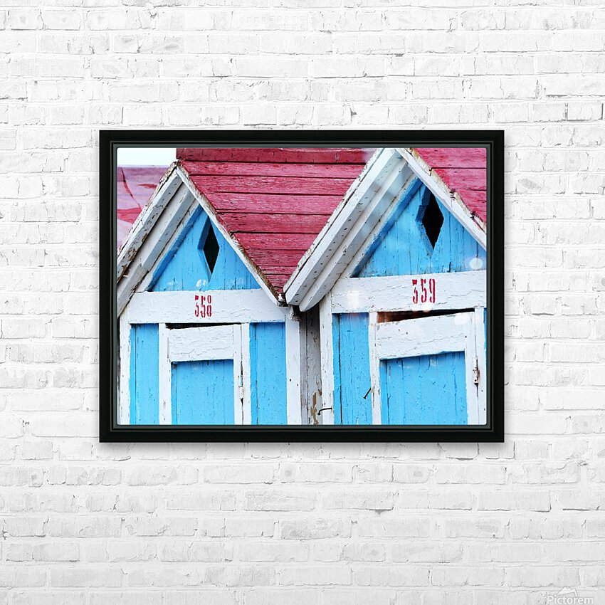 Beach cabin HD Sublimation Metal print with Decorating Float Frame (BOX)