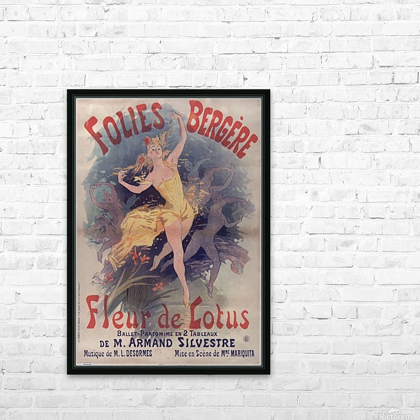 Folies Bergere Fleur de Lotus Poster HD Sublimation Metal print with Decorating Float Frame (BOX)