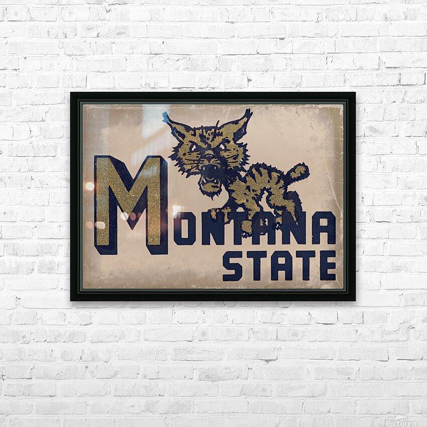 Vintage Montana State Bobcat Art HD Sublimation Metal print with Decorating Float Frame (BOX)