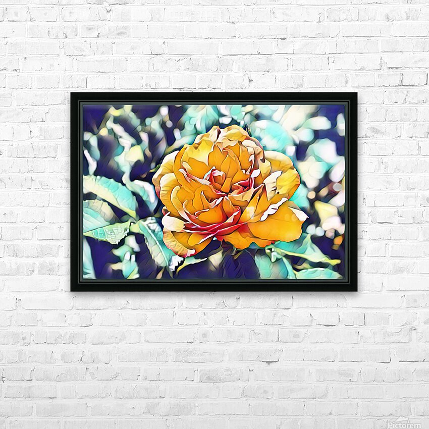 Rose in Yellow HD Sublimation Metal print with Decorating Float Frame (BOX)