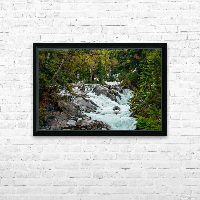 Wild Water in the Mountains HD Sublimation Metal print with Decorating Float Frame (BOX)