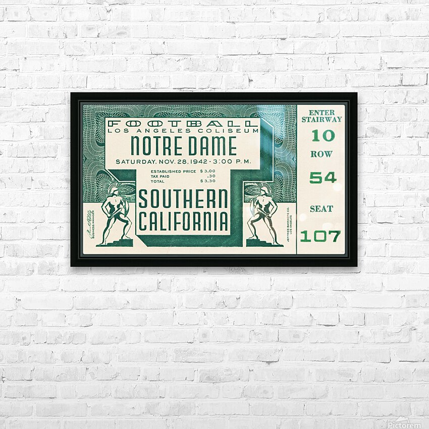 1942 USC vs. Notre Dame Football Ticket Canvas HD Sublimation Metal print with Decorating Float Frame (BOX)