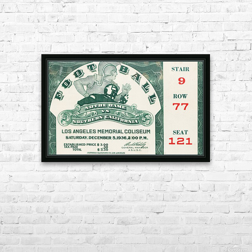 1936 Notre Dame vs. USC Football Ticket Art HD Sublimation Metal print with Decorating Float Frame (BOX)