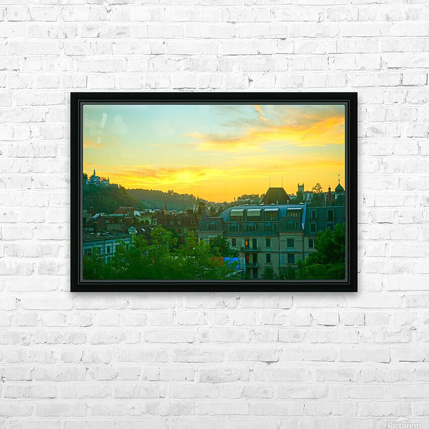 Sunset over Lucerne Switzerland HD Sublimation Metal print with Decorating Float Frame (BOX)