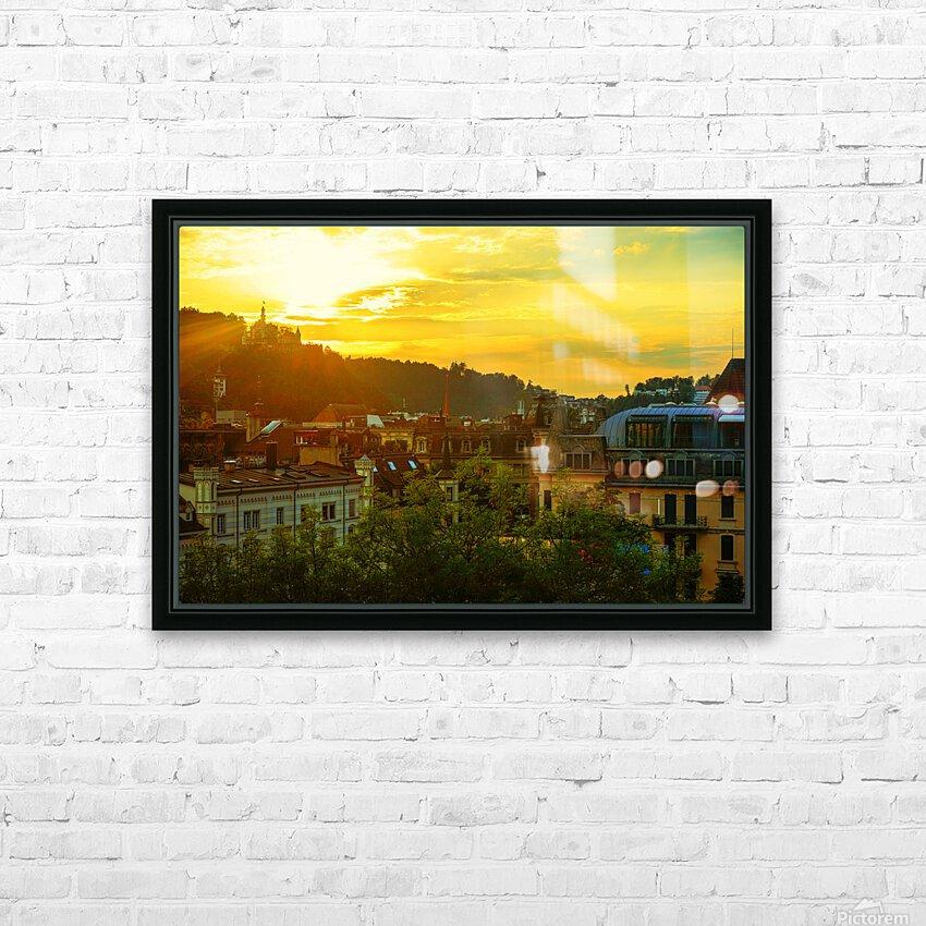 Summer Sunset over Lucerne Switzerland HD Sublimation Metal print with Decorating Float Frame (BOX)