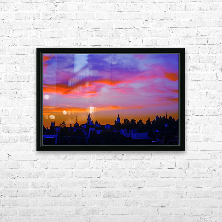 One Fine Summer Evening at Sunset in Lucerne Switzerland HD Sublimation Metal print with Decorating Float Frame (BOX)