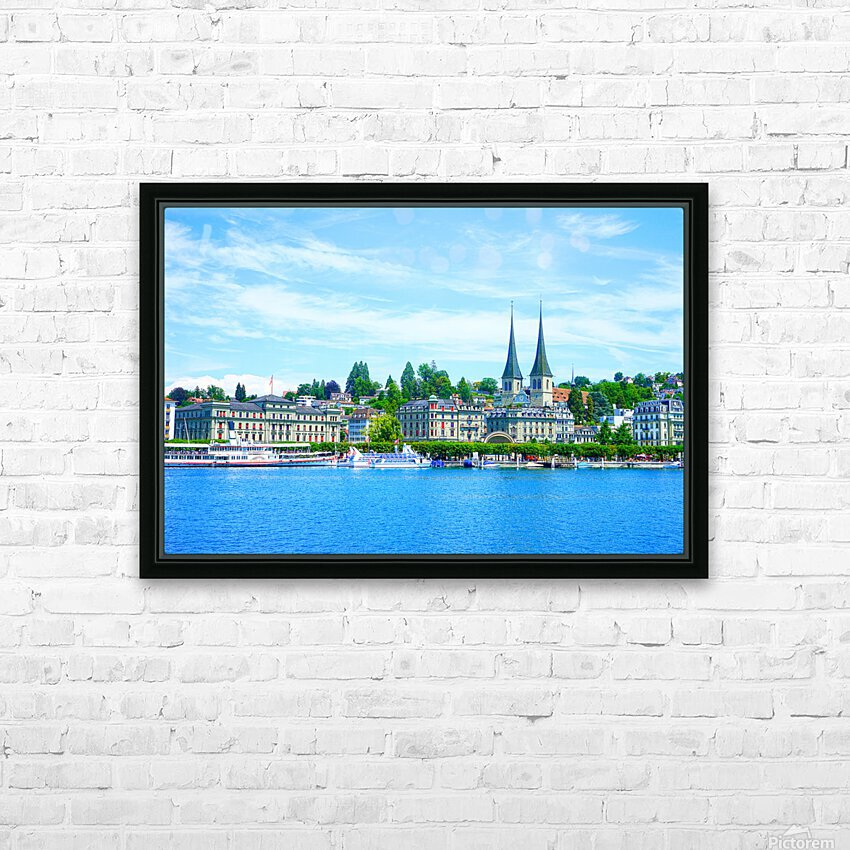 Waterfront   Lucerne Switzerland 1 of 3 HD Sublimation Metal print with Decorating Float Frame (BOX)