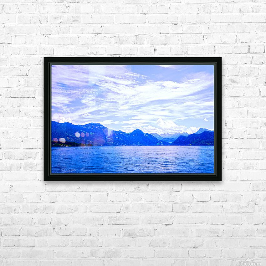Beautiful Day The Alps and Lake Lucerne 1 of 2 HD Sublimation Metal print with Decorating Float Frame (BOX)