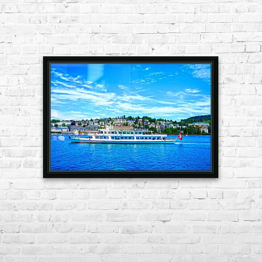 Cruise Boat On Lake Lucerne with City in Background in Switzerland HD Sublimation Metal print with Decorating Float Frame (BOX)