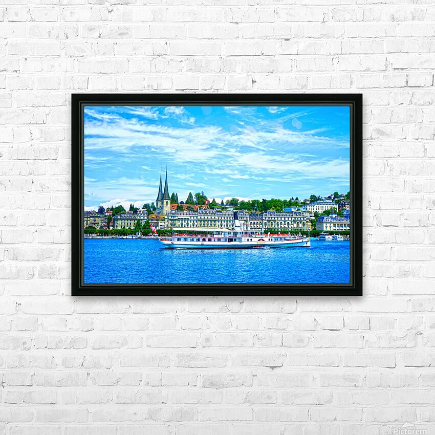 Old Town along the Coast in Lucerne Switzerland HD Sublimation Metal print with Decorating Float Frame (BOX)