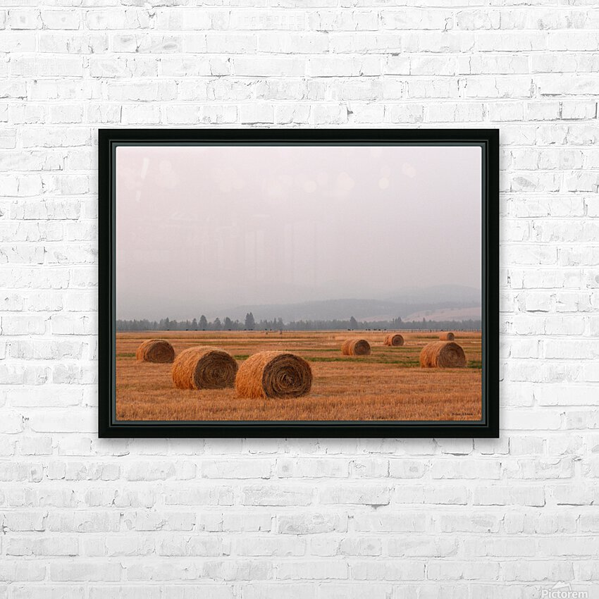 Haybales in a Haze HD Sublimation Metal print with Decorating Float Frame (BOX)