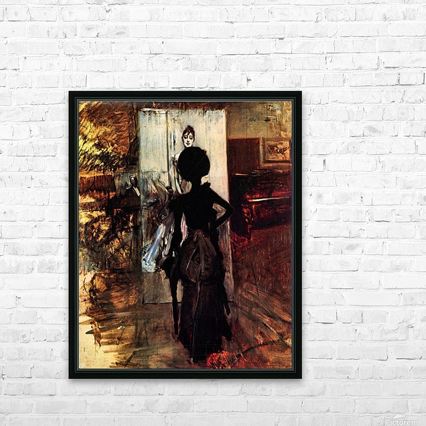 Woman in front of the painting White pastel picture by Giovanni Boldini HD Sublimation Metal print with Decorating Float Frame (BOX)