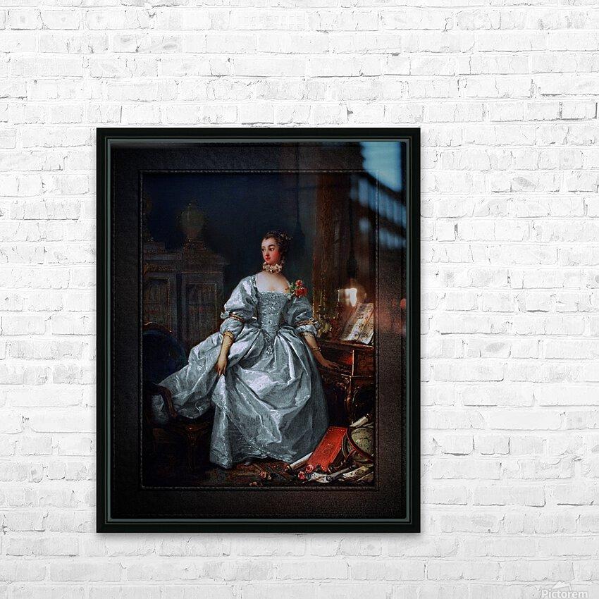 La Marquise de Pompadour by Francois Boucher Classical Fine Art Xzendor7 Old Masters Reproductions HD Sublimation Metal print with Decorating Float Frame (BOX)