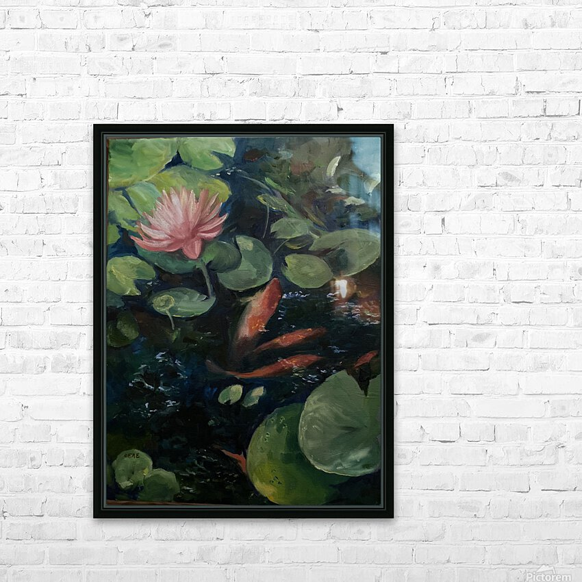 Koi with water lily  HD Sublimation Metal print with Decorating Float Frame (BOX)