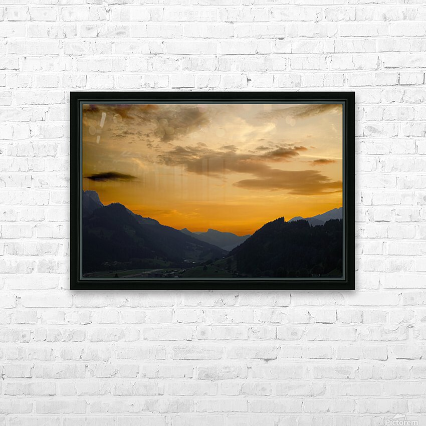 Sunset in the Saanen Valley in Switzerland HD Sublimation Metal print with Decorating Float Frame (BOX)