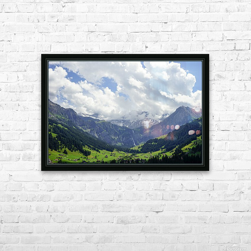 Beautiful Day in the Valley and Mountains of Adelboden Switzerland HD Sublimation Metal print with Decorating Float Frame (BOX)