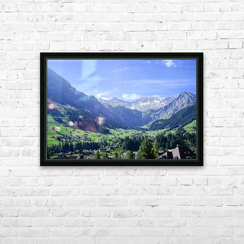 Blue Skies over the Alps in Adelboden Switzerland HD Sublimation Metal print with Decorating Float Frame (BOX)