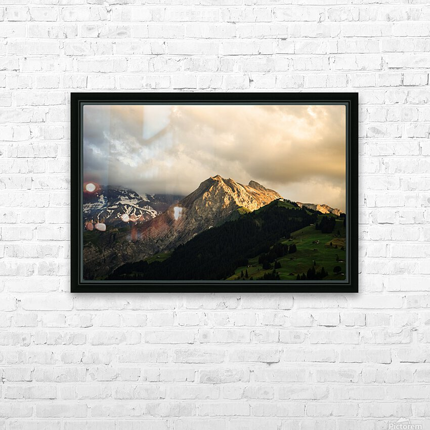 Mountain Bathed in the Golden Rays of the Sun at Sunset in Switzerland 1 of 3 HD Sublimation Metal print with Decorating Float Frame (BOX)