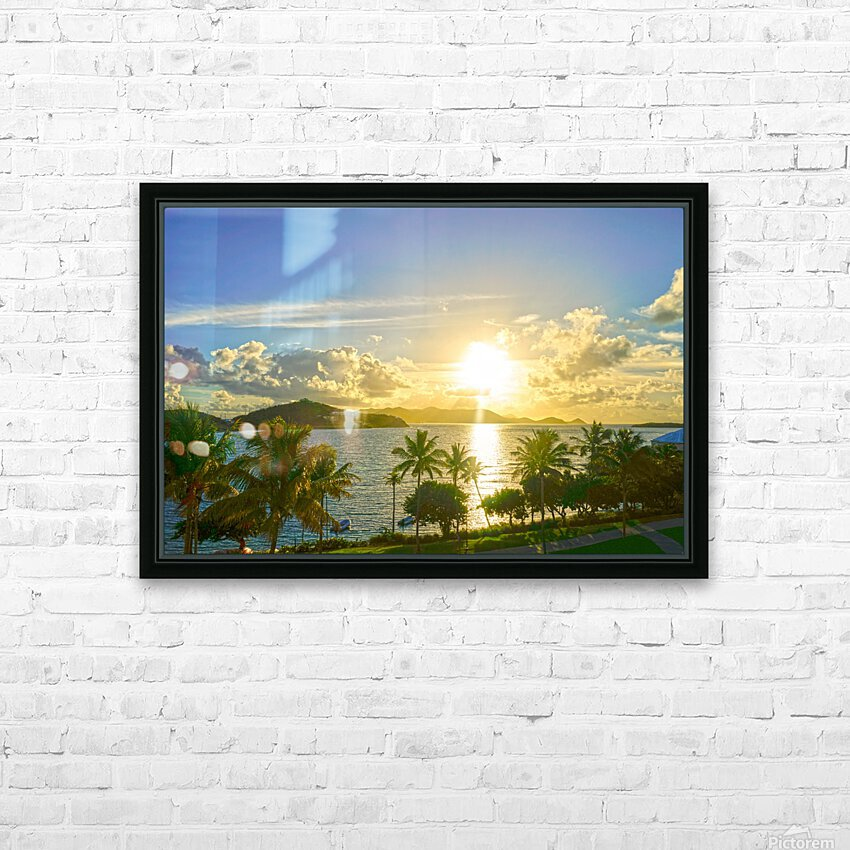 Sunset over Saint Thomas in the Caribbean Islands HD Sublimation Metal print with Decorating Float Frame (BOX)