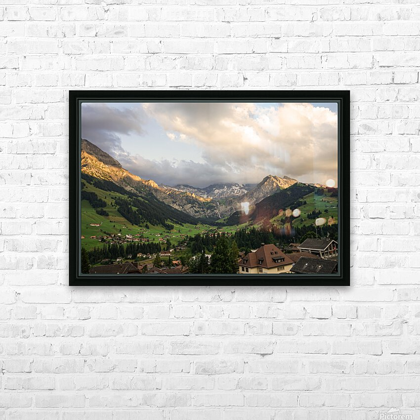 Golden Rays of the Sun Across the Mountains at Sunset in Switzerland 2 of 2 HD Sublimation Metal print with Decorating Float Frame (BOX)