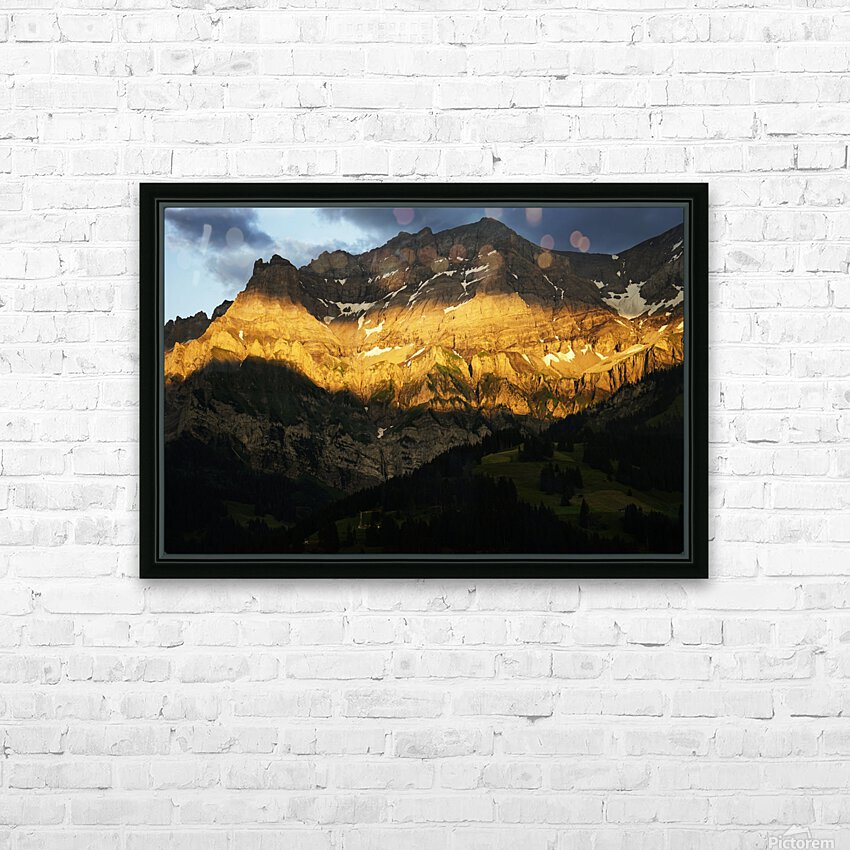 Mountain Bathed in the Golden Rays of the Sun at Sunset in Switzerland 2 of 3 HD Sublimation Metal print with Decorating Float Frame (BOX)