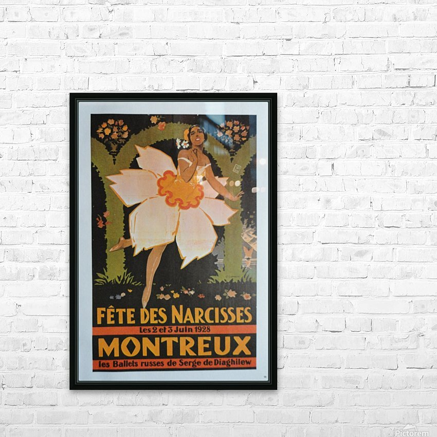 Vintage Dance Poster Fete Des Narcisses HD Sublimation Metal print with Decorating Float Frame (BOX)