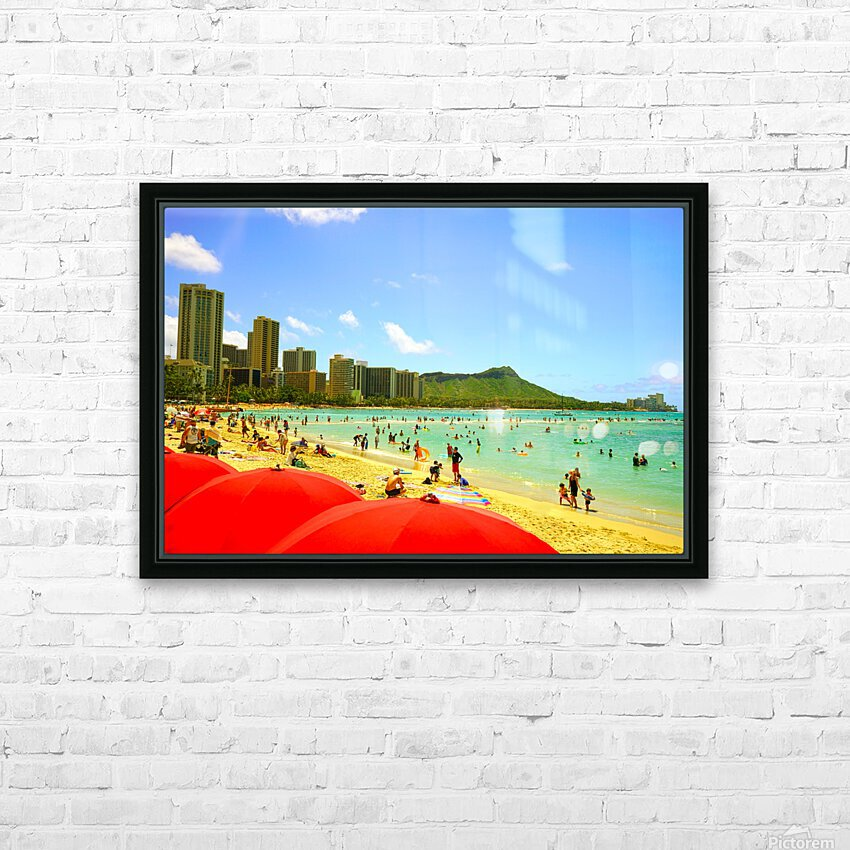 Waikiki Snapshot in Time 1 of 4 HD Sublimation Metal print with Decorating Float Frame (BOX)