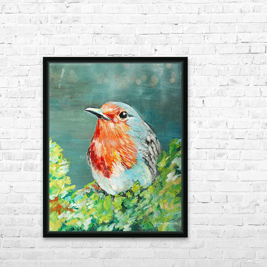 Bird Painting Robin HD Sublimation Metal print with Decorating Float Frame (BOX)