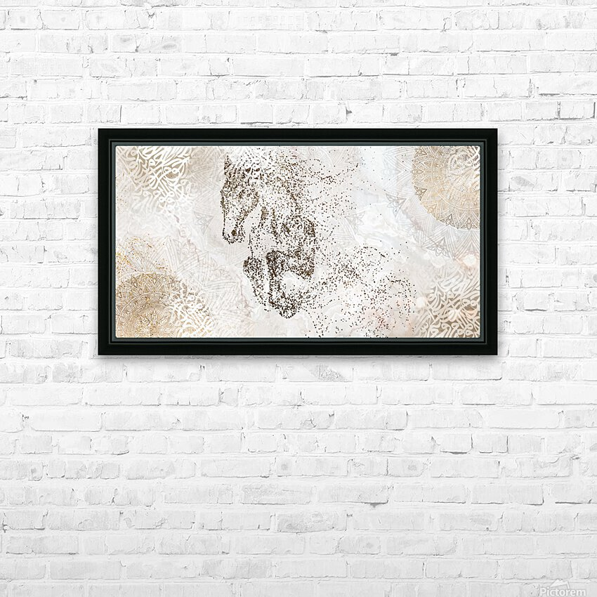 calligraphy horse  HD Sublimation Metal print with Decorating Float Frame (BOX)