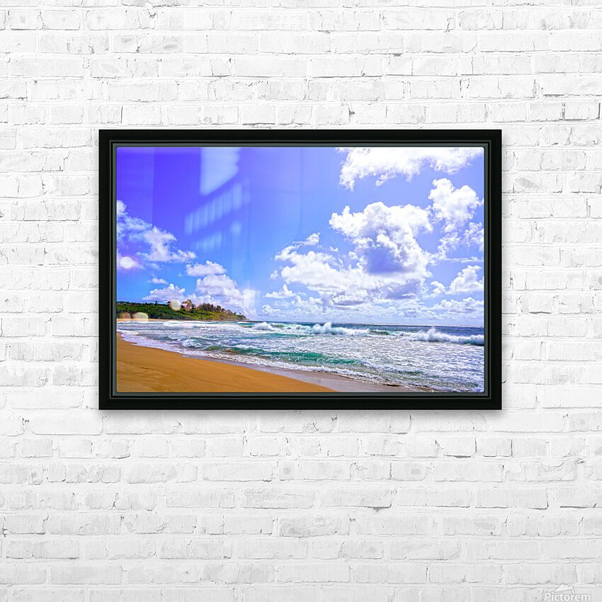 Wild Day at Wailua Beach on the Island of Kauai HD Sublimation Metal print with Decorating Float Frame (BOX)