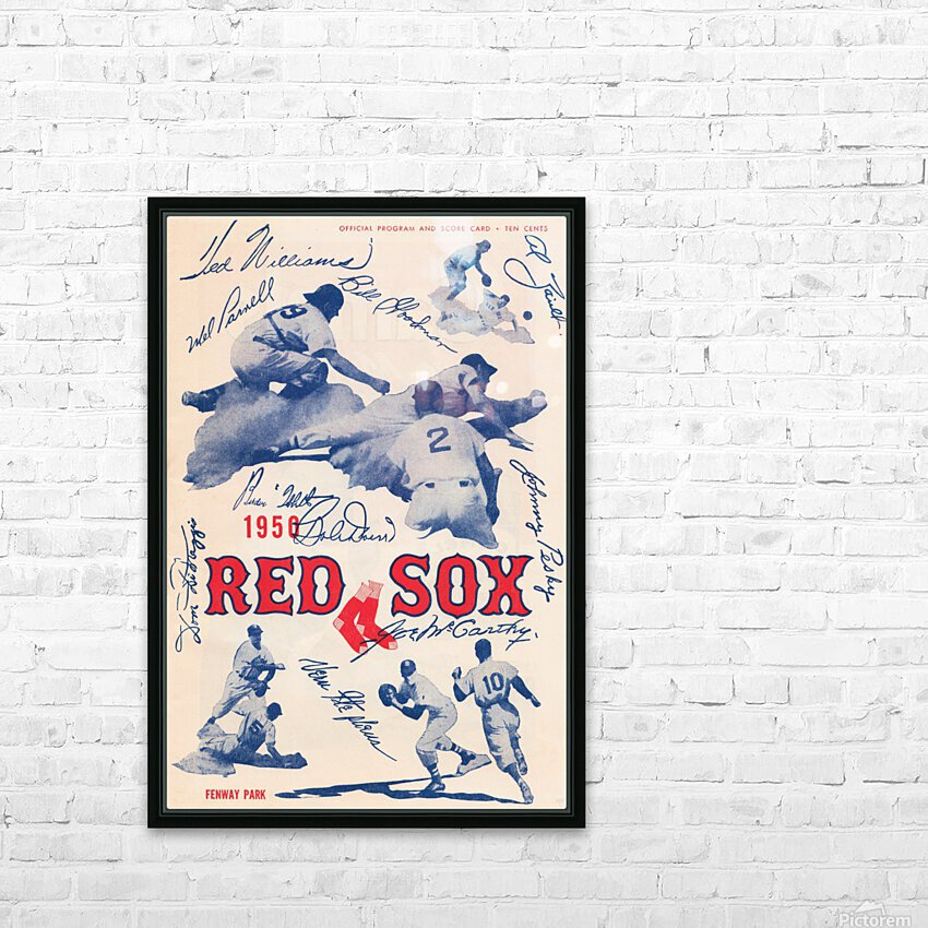 1950 Boston Red Sox Score Book Canvas Art HD Sublimation Metal print with Decorating Float Frame (BOX)