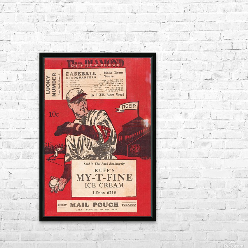 1933 Detroit Tigers Score Card Art HD Sublimation Metal print with Decorating Float Frame (BOX)