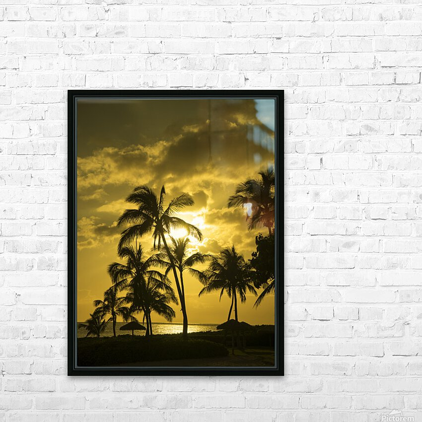 Palms and Hulu Thatched Tiki Umbrellas in the Golden Light of Sunset HD Sublimation Metal print with Decorating Float Frame (BOX)