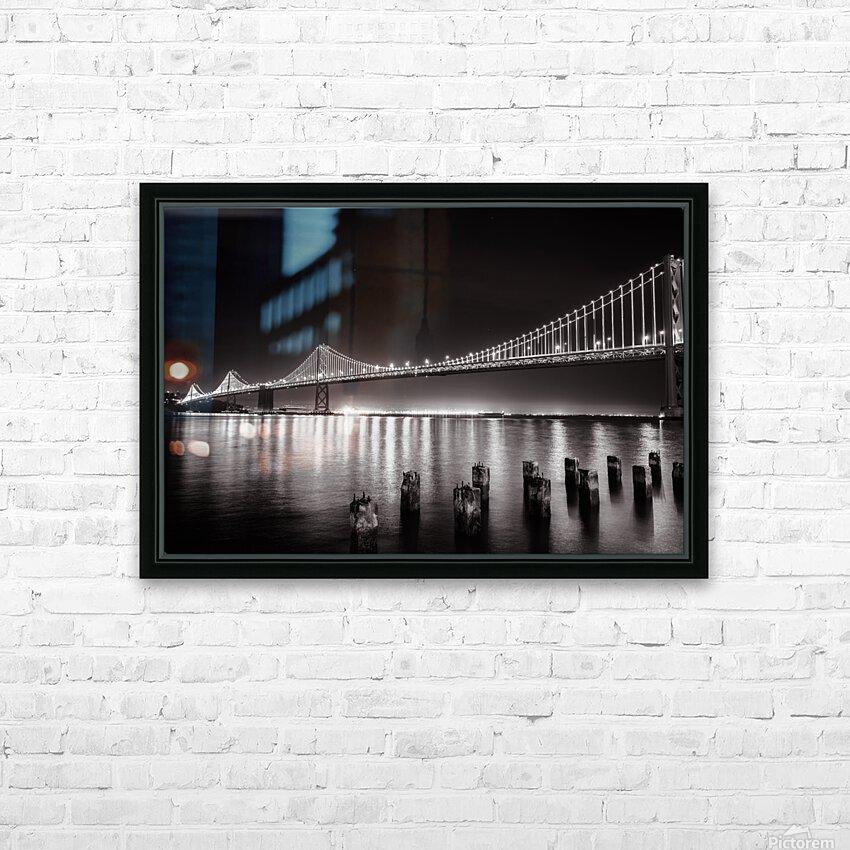 Bay Bridge Black & White HD Sublimation Metal print with Decorating Float Frame (BOX)