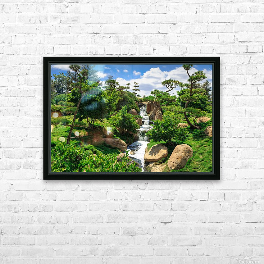 Garden Waterfall HD Sublimation Metal print with Decorating Float Frame (BOX)