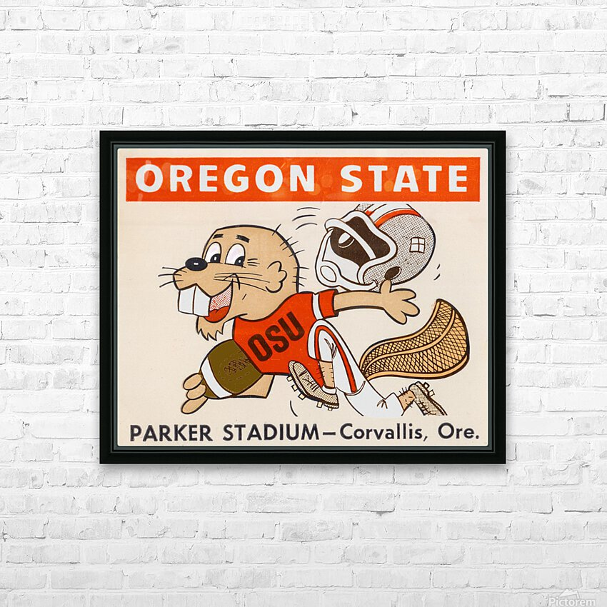 1970 Oregon State Beaver Ticket Stub Remix Art HD Sublimation Metal print with Decorating Float Frame (BOX)
