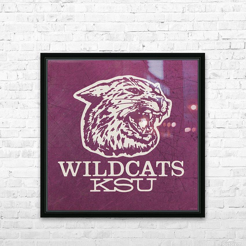 Retro Eighties KSU Wildcats Art HD Sublimation Metal print with Decorating Float Frame (BOX)