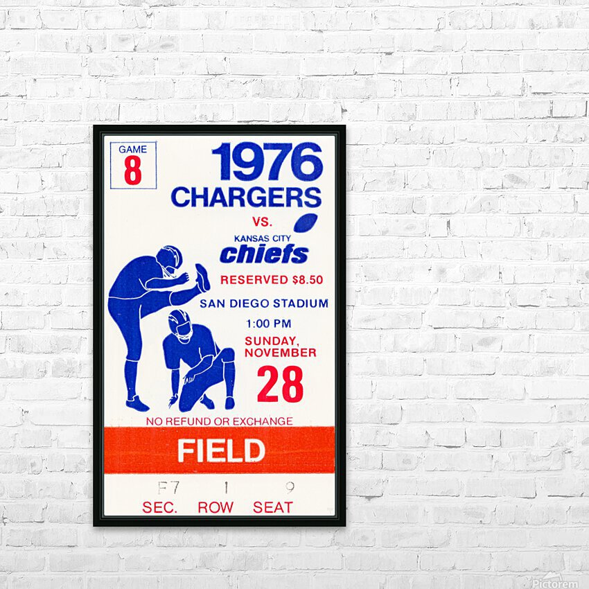 1976 San Diego Chargers vs. Kansas City Chiefs HD Sublimation Metal print with Decorating Float Frame (BOX)