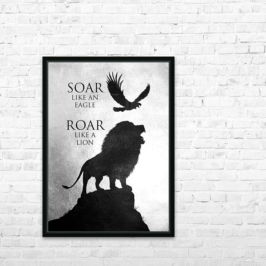 lion and eagle Motivational Wall Art HD Sublimation Metal print with Decorating Float Frame (BOX)