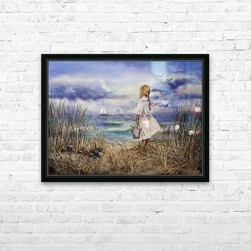 Girl At The Ocean Beach Art Painting HD Sublimation Metal print with Decorating Float Frame (BOX)