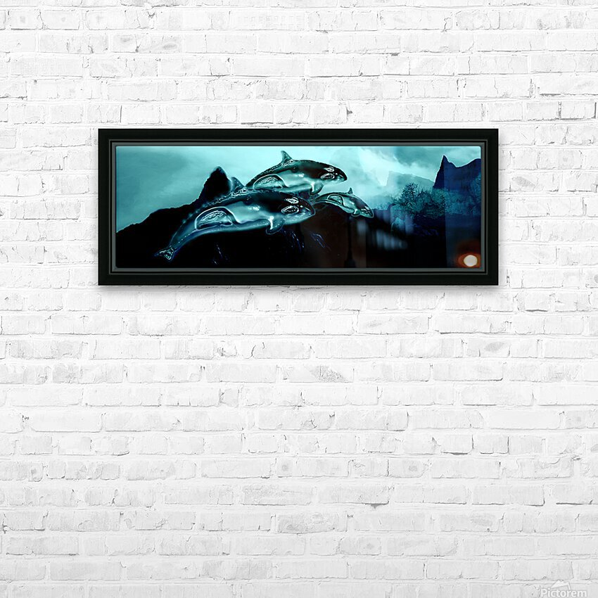 ORCAS LUNARES WIDE 3 HD Sublimation Metal print with Decorating Float Frame (BOX)