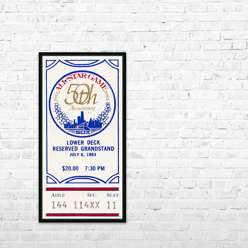 1983 Baseball All-Star Game Ticket Art HD Sublimation Metal print with Decorating Float Frame (BOX)