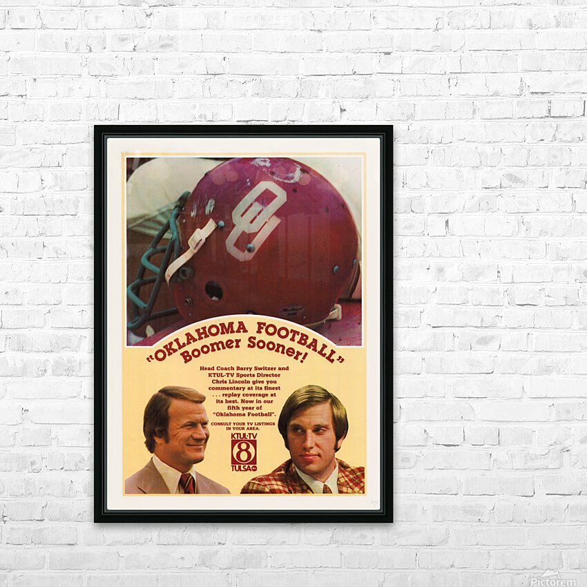 1977 Oklahoma Football Show Ad Barry Switzer  HD Sublimation Metal print with Decorating Float Frame (BOX)